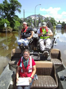 Kirsten Barnes providing flood assessment work as a volunteer for the American Red Cross.