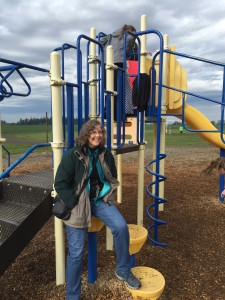 Educational Assistant Marian Austin helps provide a safe and fun environment for students on the playground during lunch at Butte Creek School.