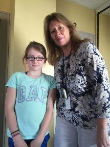 Teacher Lisa Freauff with Ella Mantie, grade 4 at Pratum School.