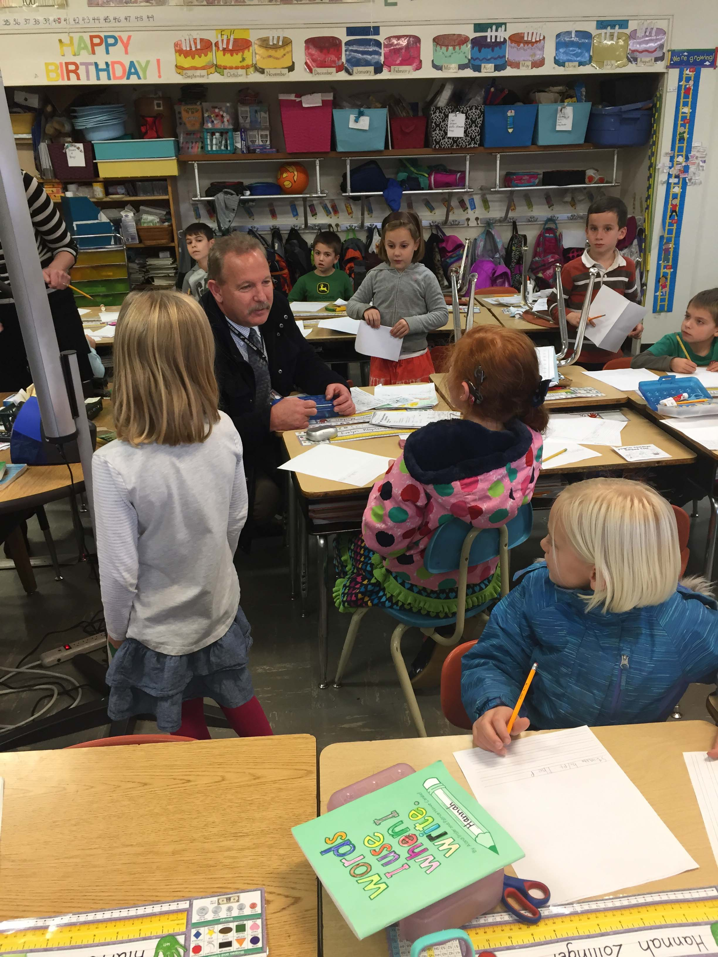 SFSD Superintendent Andy Bellando visits with Kindergarten students at Central Howell School.