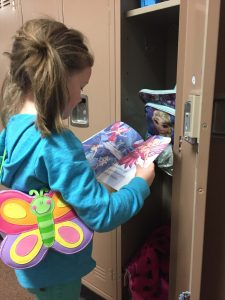 K-2 students are making good use of the lockers at Mark Twain Elementary School