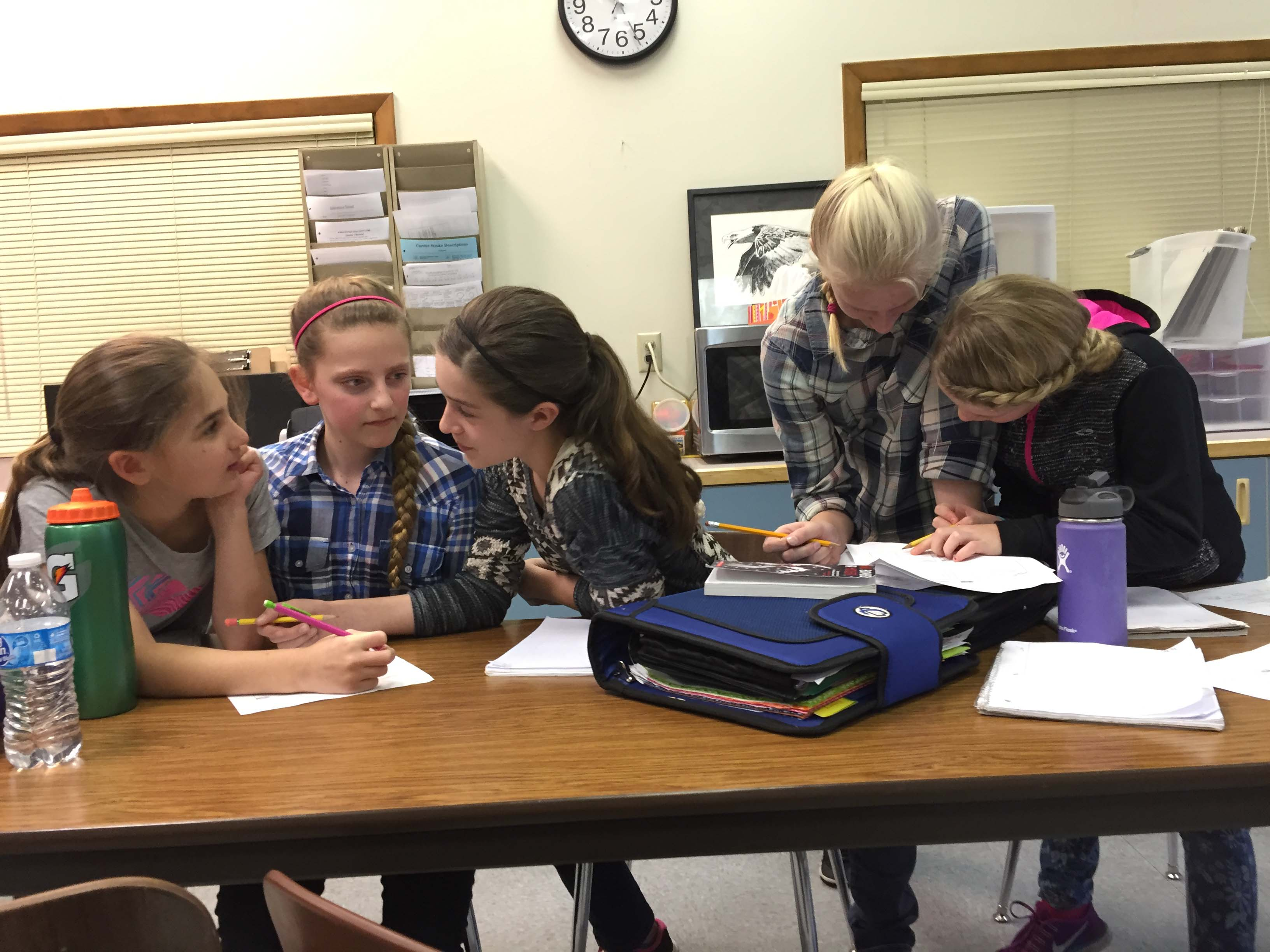 Victor Point School 6th graders at work together to understand math concepts