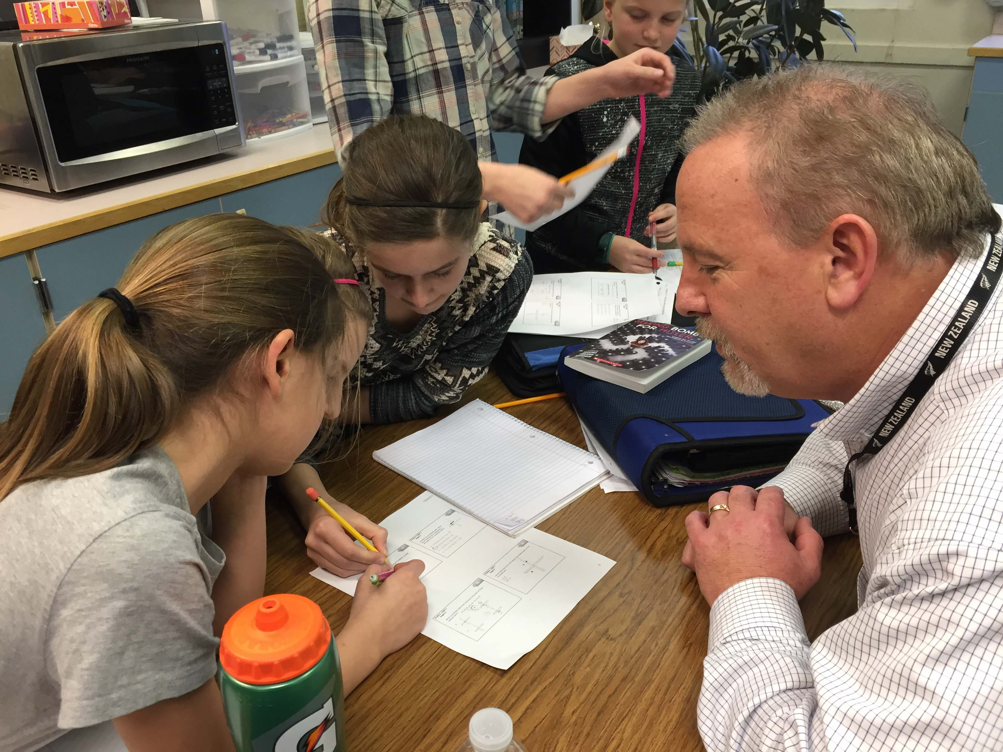 SFSD Superintendent Andy Bellando visits with Victor Point students in Michael Timmons' 6th grade math class.