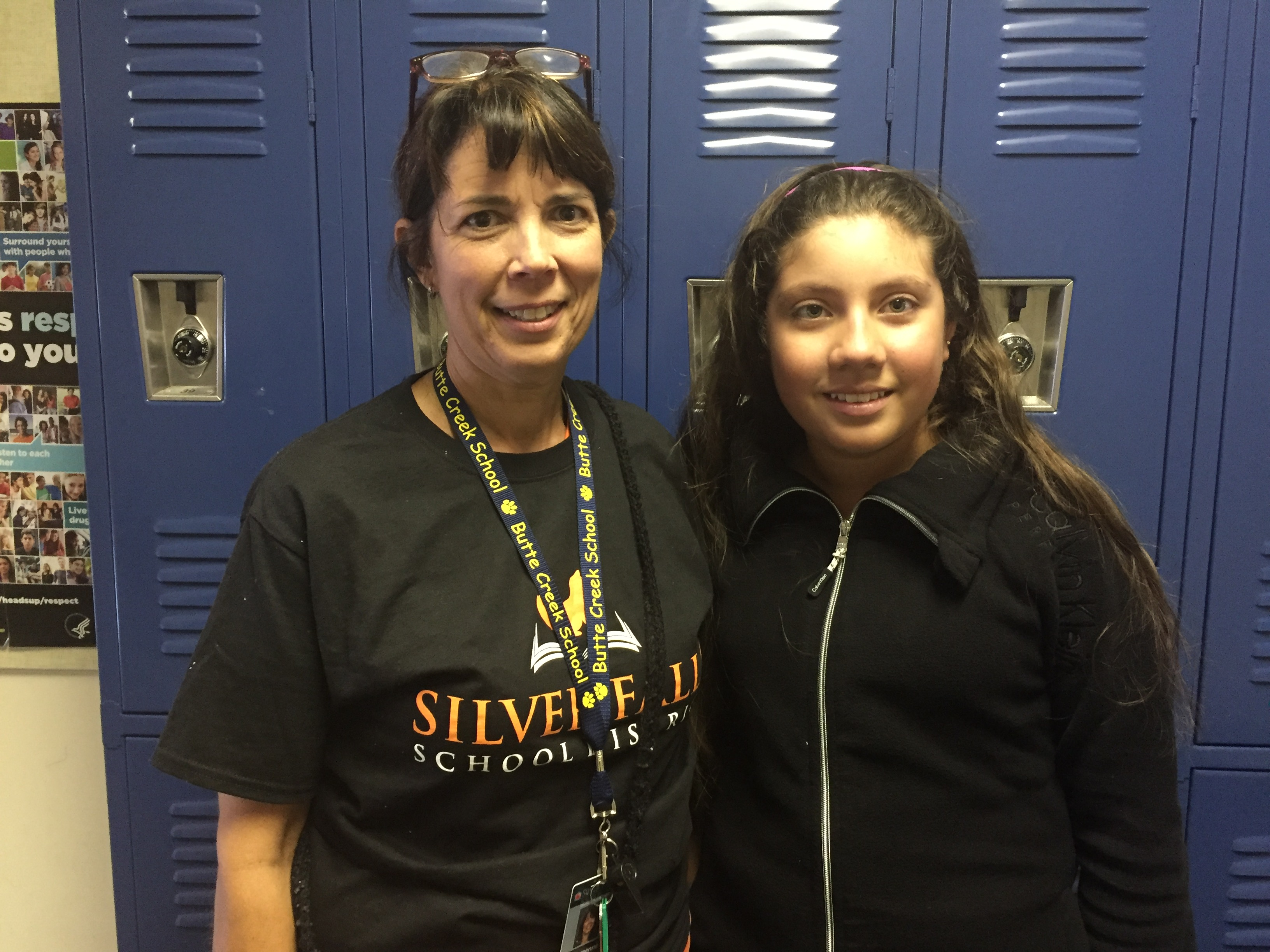 Georgenne Kuenzi, English Language Development assistant with Butte Creek 6th grader Mariana Alonso.
