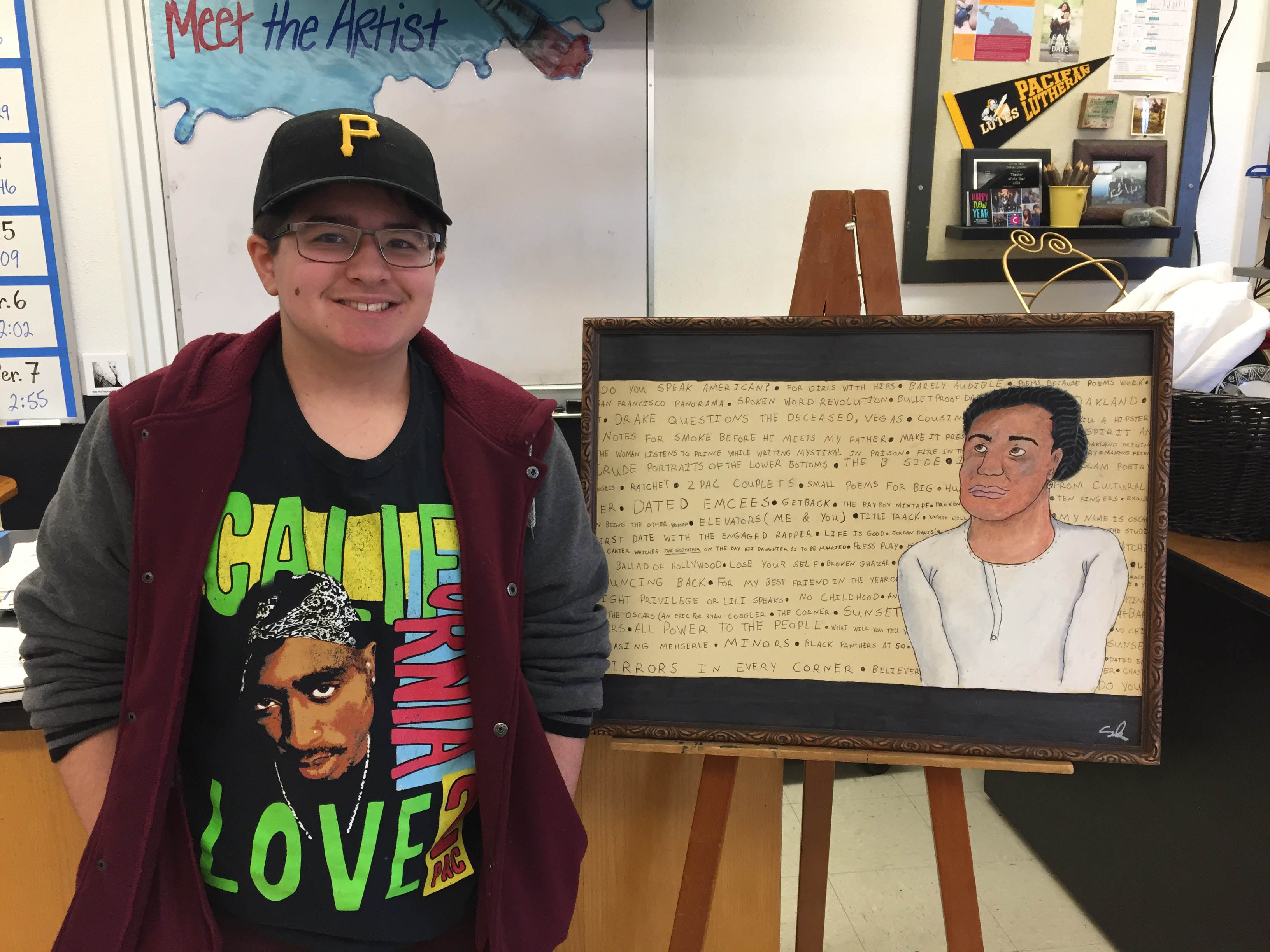 SMS 8th grader Sam Perez shares is portrait of American Poet Chinaka Hodge