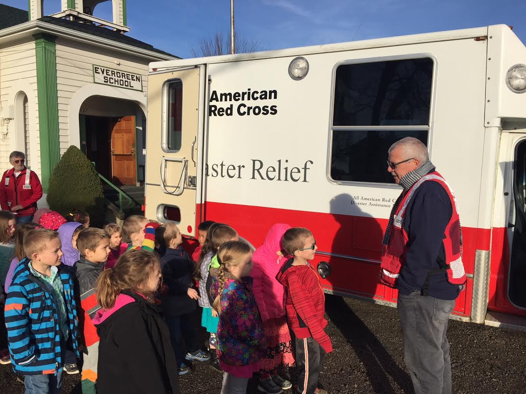 Evergreen Students Visit with Red Cross Workers