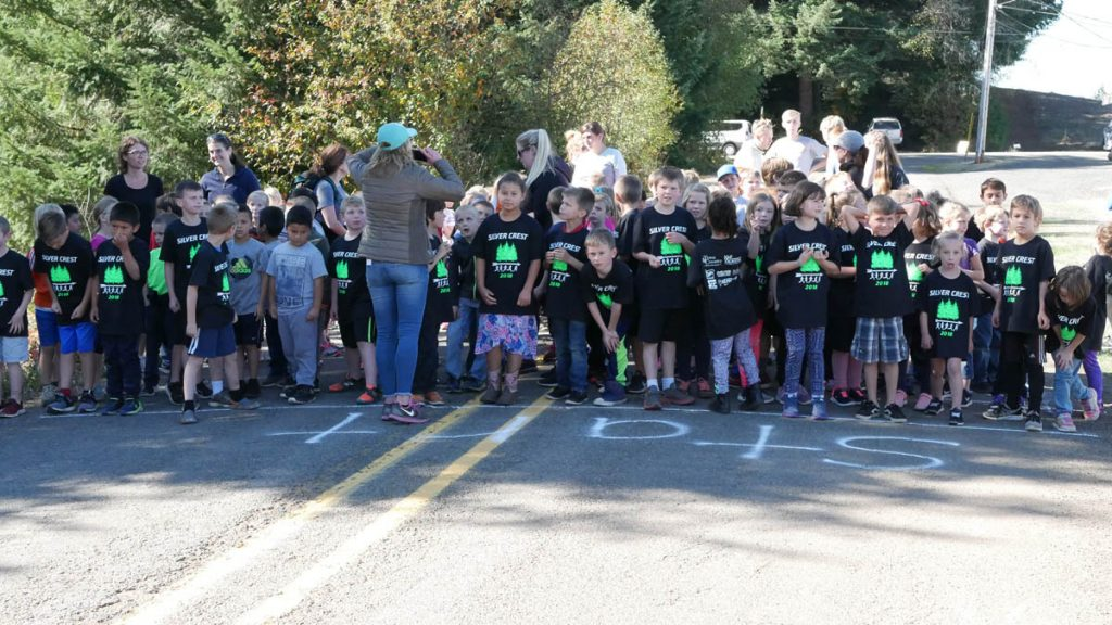 Silver Crest Students in their Official T-Shirts Prepare to Run through the Christmas Trees