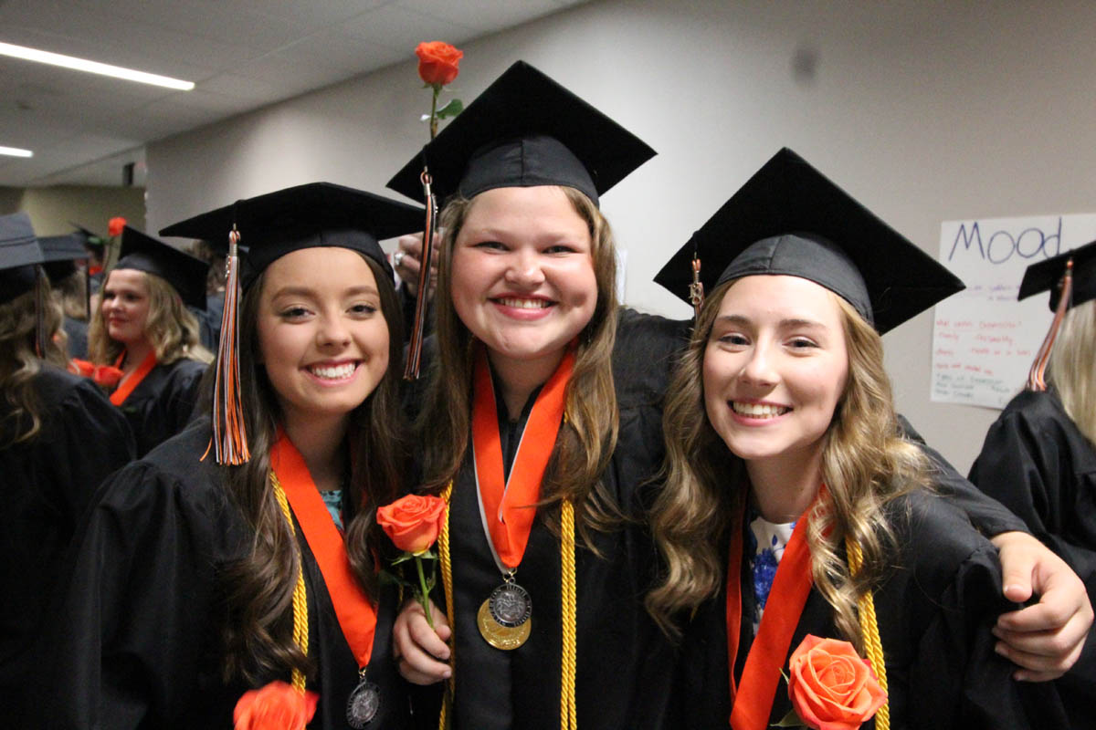 Seniors from Silverton High School celebrate prior to graduation